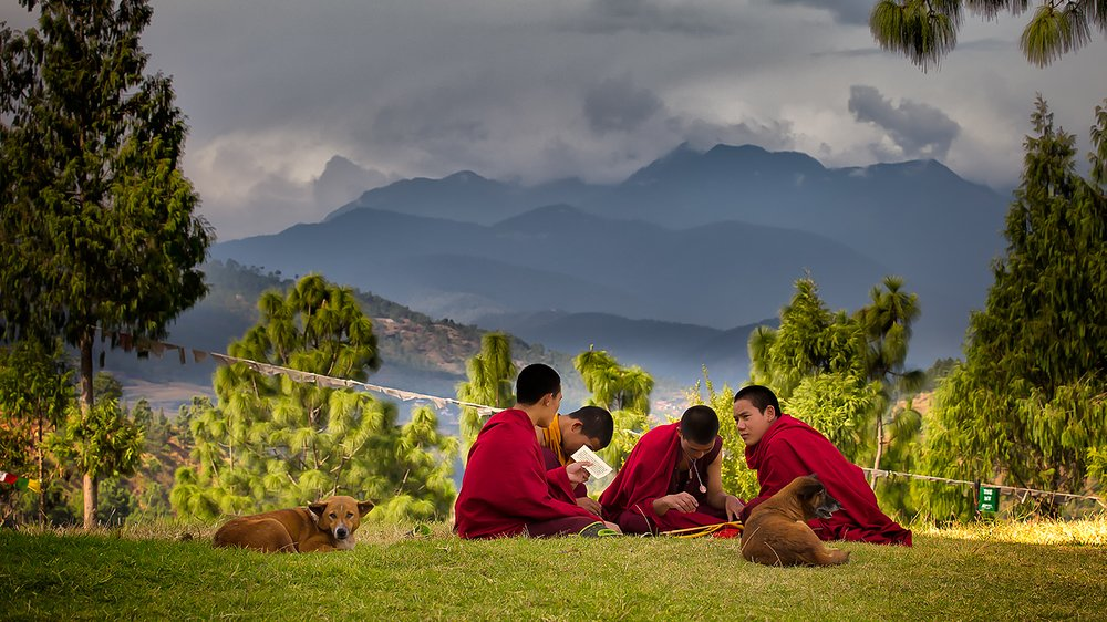 Bhutanese monks studying